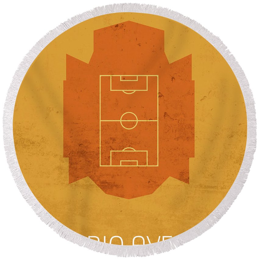Rio Round Beach Towel featuring the mixed media Rio Ave Stadium Football Soccer Minimalist Series by Design Turnpike