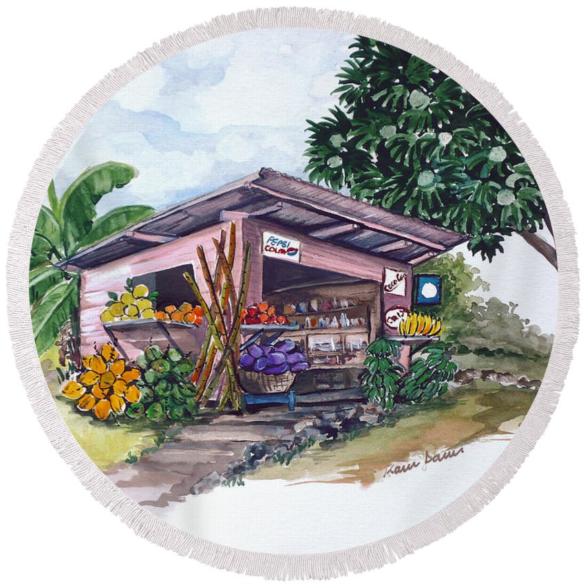 Caribbean Painting Little Shop Fruit & Veg Shop Painting Caribbean Tropical Painting Greeting Card Painting Round Beach Towel featuring the painting Roadside Vendor by Karin Dawn Kelshall- Best