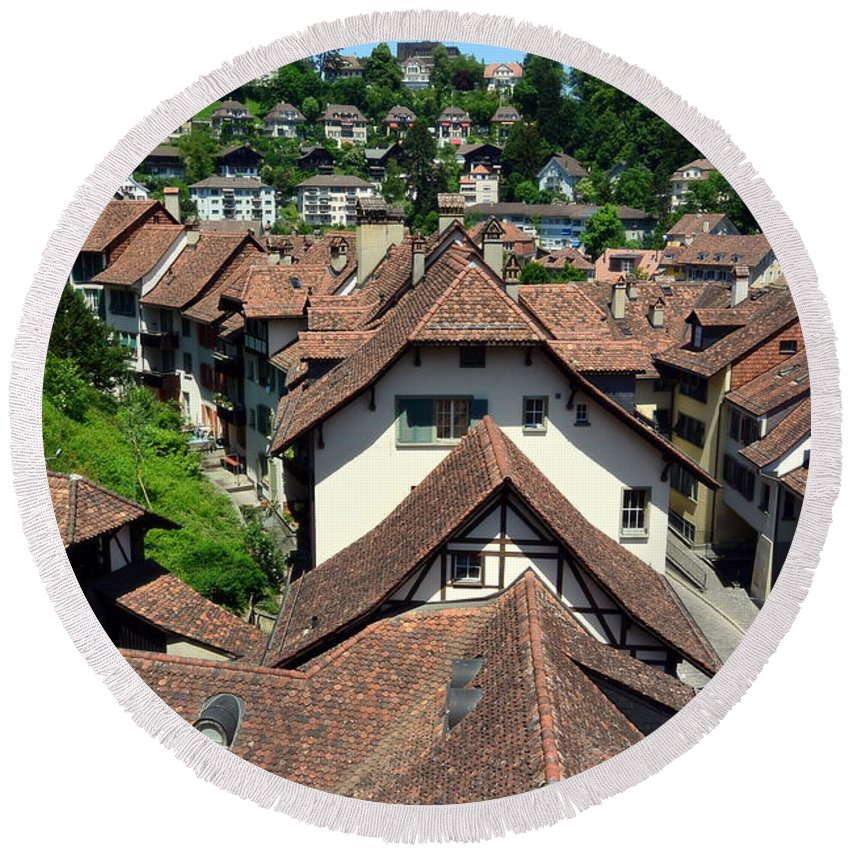 Red Rooftops Round Beach Towel featuring the photograph Rooftops of Medieval Bern, Switzerland by Two Small Potatoes