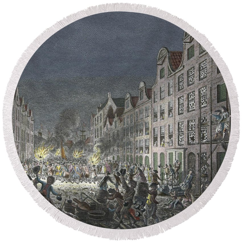 1751 Round Beach Towel featuring the drawing Rotterdam Riot, 1751 by Simon Fokke