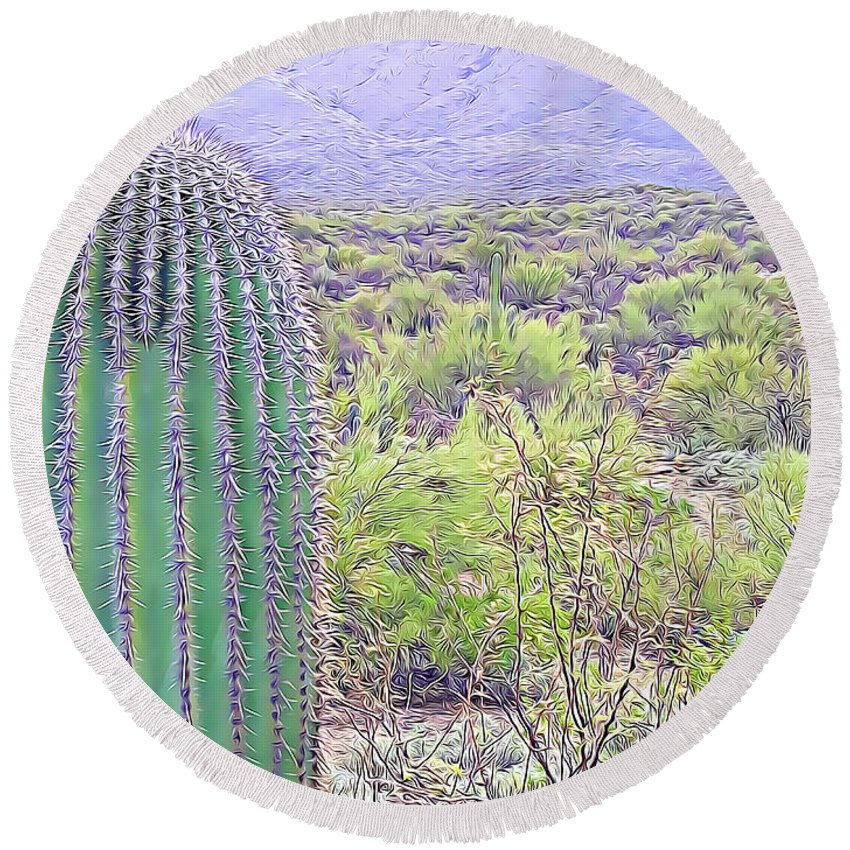 Saguaro Round Beach Towel featuring the mixed media Saguaro And Rincon Mountain by Tracy Ruckman
