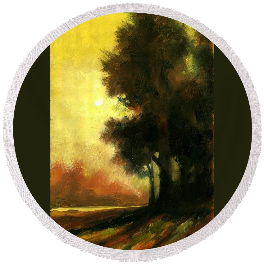 Landscape Round Beach Towel featuring the painting Sailors Delight by Jim Gola