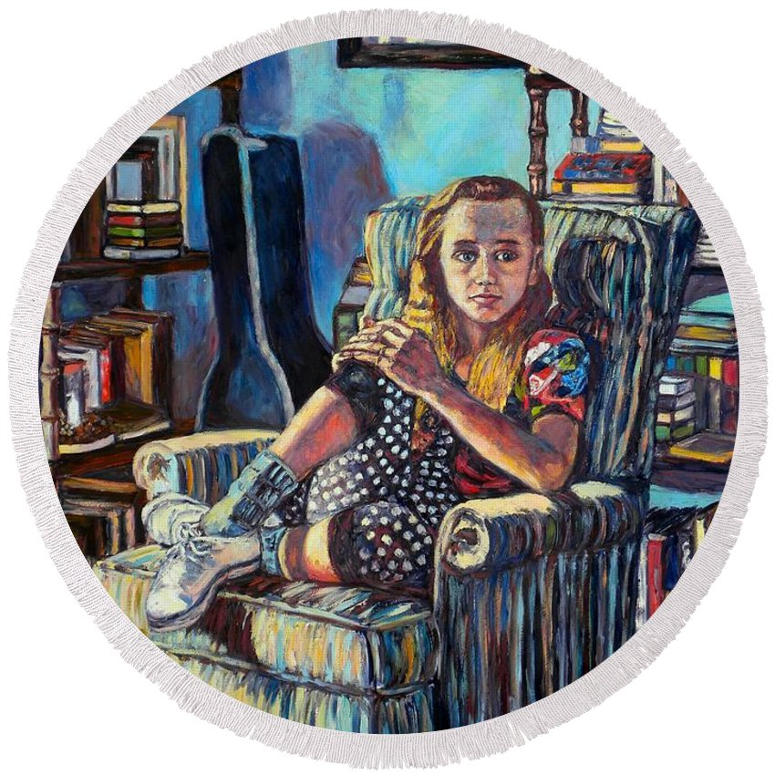 Figure Round Beach Towel featuring the painting Samantha by Kendall Kessler