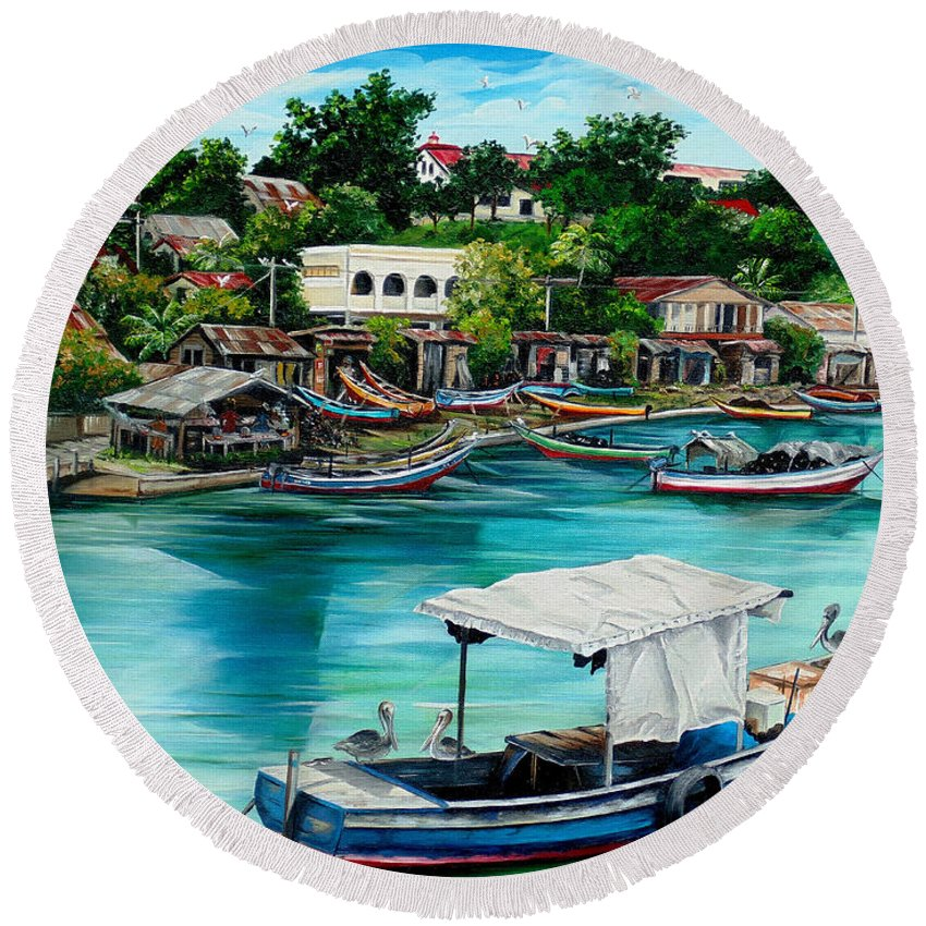 Ocean Painting Sea Scape Painting Fishing Boat Painting Fishing Village Painting Sanfernando Trinidad Painting Boats Painting Caribbean Painting Original Oil Painting Of The Main Southern Town In Trinidad  Artist Pob Round Beach Towel featuring the painting Sanfernando Wharf by Karin Dawn Kelshall- Best