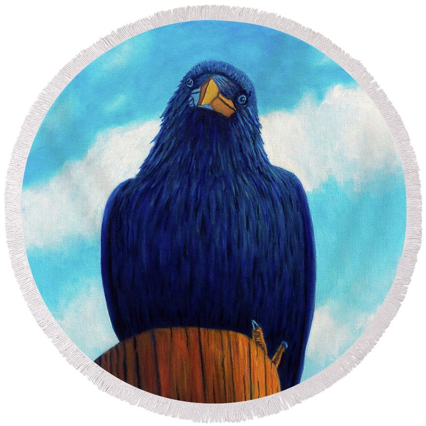 Raven Round Beach Towel featuring the painting Santa Fe Smile by Brian Commerford