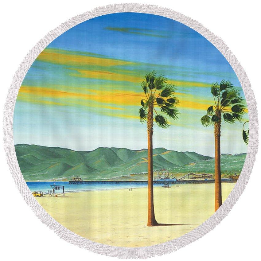 Santa Monica Round Beach Towel featuring the painting Santa Monica by Jerome Stumphauzer