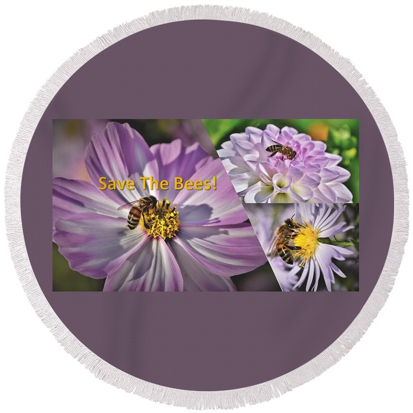 Bees Round Beach Towel featuring the photograph Save the Bees Lavender by Nancy Ayanna Wyatt