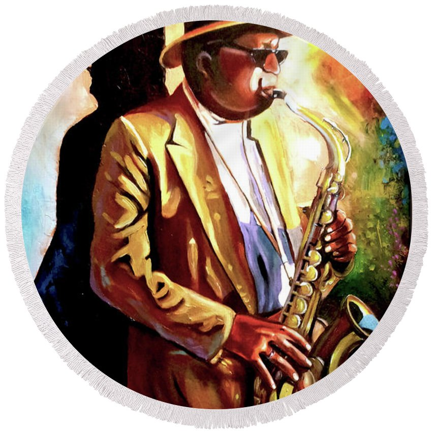 Sax Round Beach Towel featuring the painting Sax Player by Jose Manuel Abraham