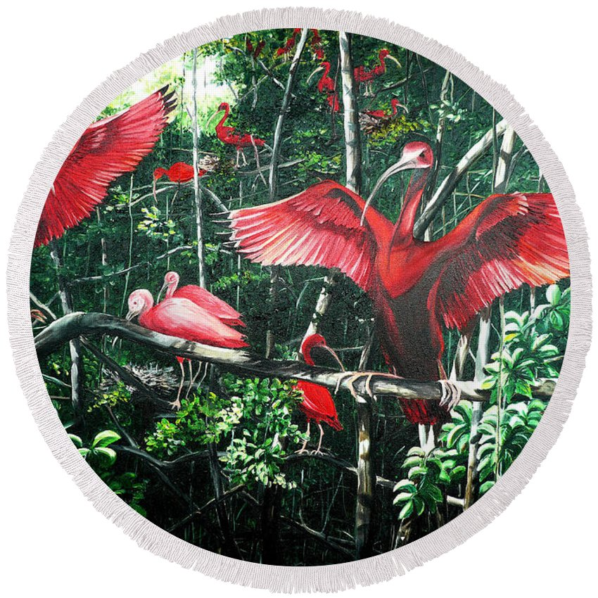 Caribbean Painting Scarlet Ibis Painting Bird Painting Coming Home To Roost Painting The Caroni Swamp In Trinidad And Tobago Greeting Card Painting Painting Tropical Painting Round Beach Towel featuring the painting Scarlet Ibis by Karin Dawn Kelshall- Best