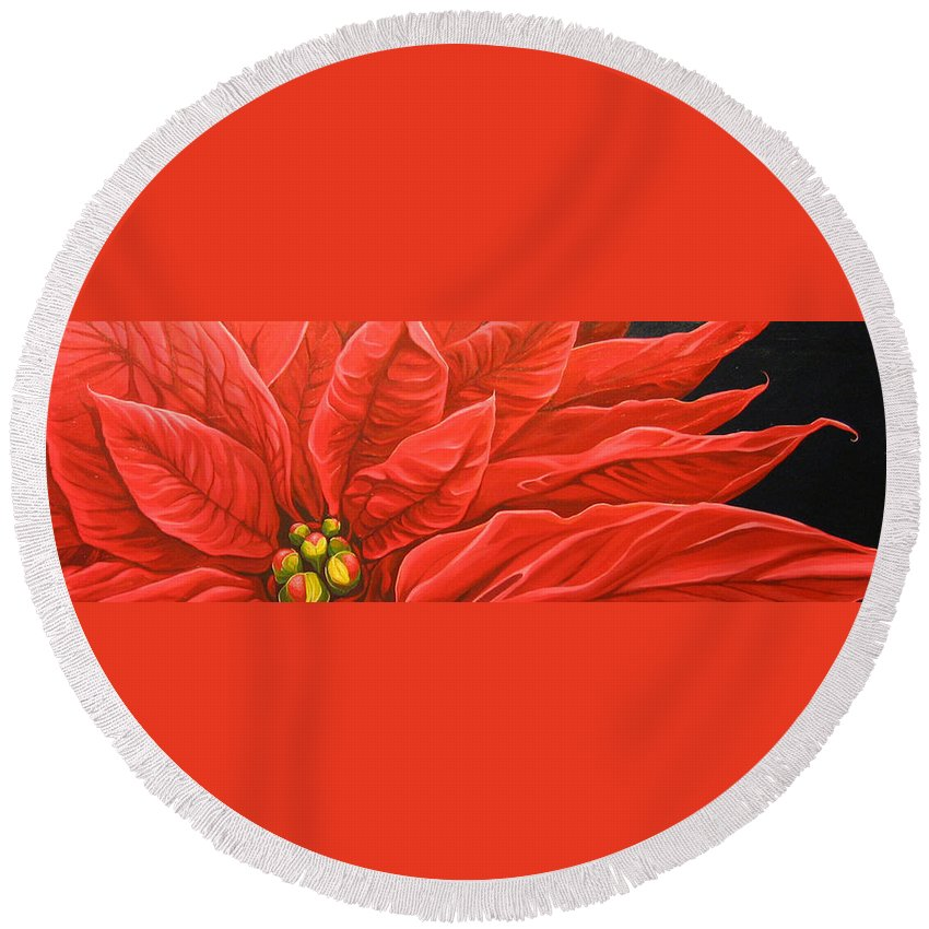 Floral Round Beach Towel featuring the painting Scarlet Nights by Hunter Jay