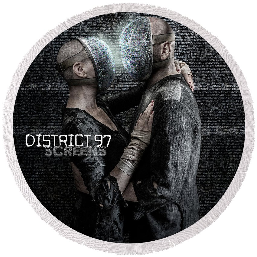 Round Beach Towel featuring the digital art Screens by District 97