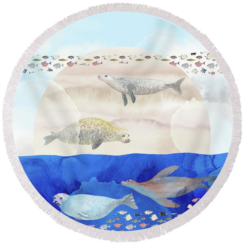 Seals Round Beach Towel featuring the digital art Seals, Sand, Ocean, Sun - A Surreal Dream by Andreea Dumez