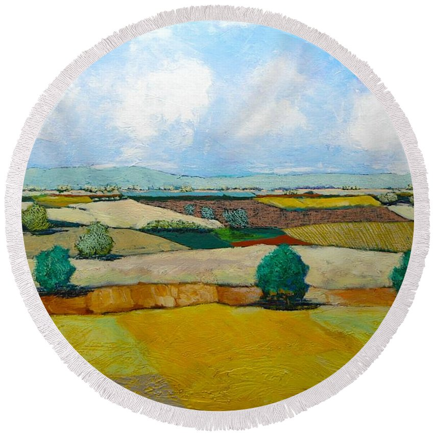 Landscape Round Beach Towel featuring the painting Sears Point by Allan P Friedlander