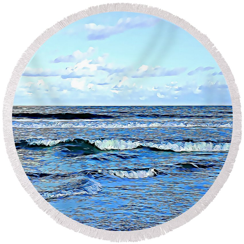 Seashore Round Beach Towel featuring the photograph Seashore Along The Outer Banks by Tracy Ruckman
