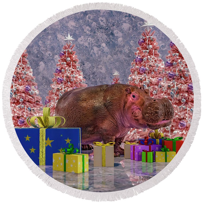 Hippo Round Beach Towel featuring the digital art Seasons Greetings Hippo by Betsy Knapp