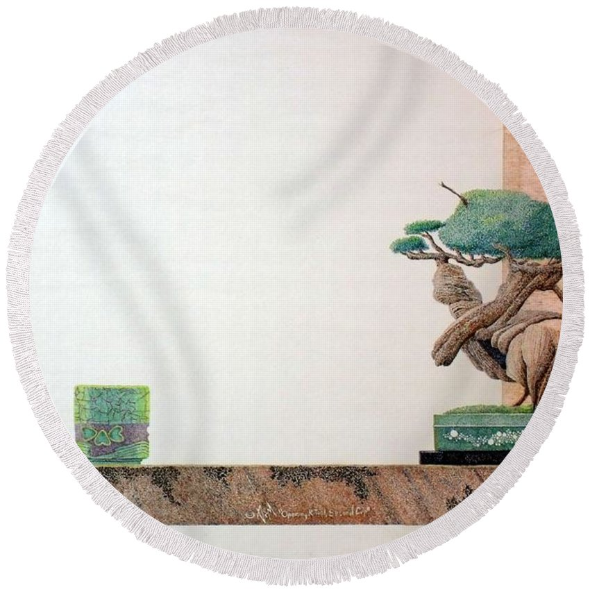 Still Life Round Beach Towel featuring the painting Second Cup by A Robert Malcom