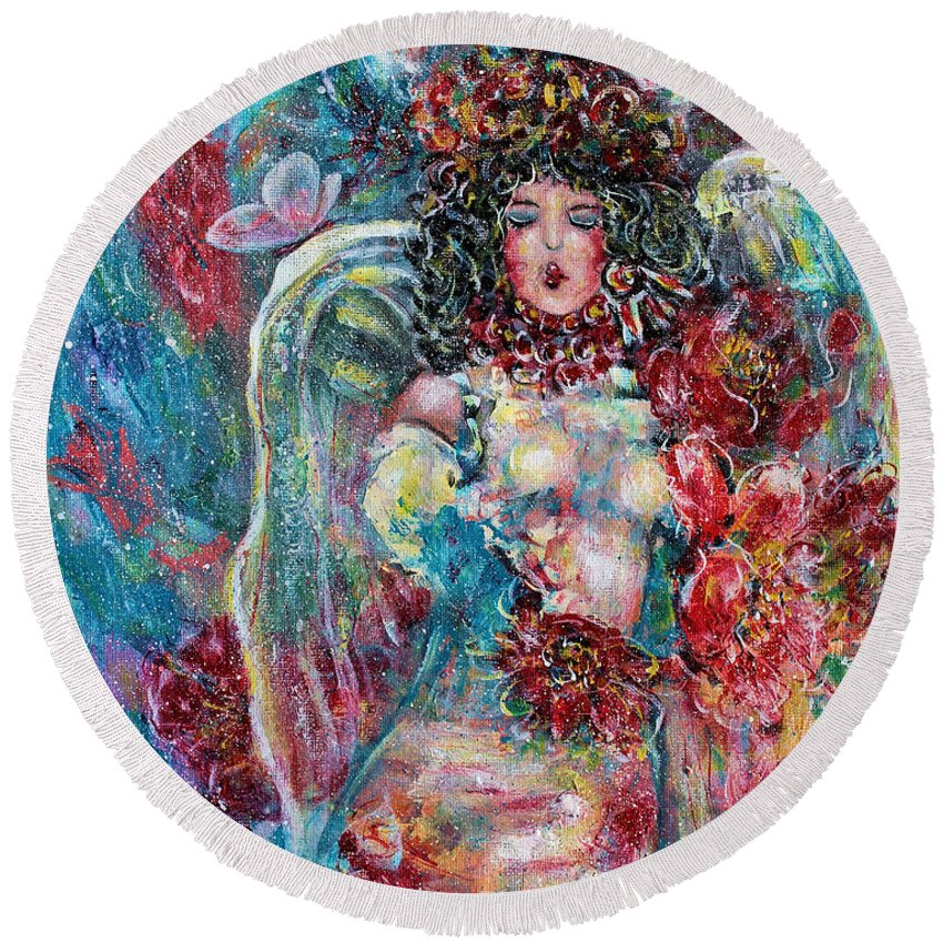 Angels Round Beach Towel featuring the painting Secret Garden Singing Angel 8 by Natalie Holland