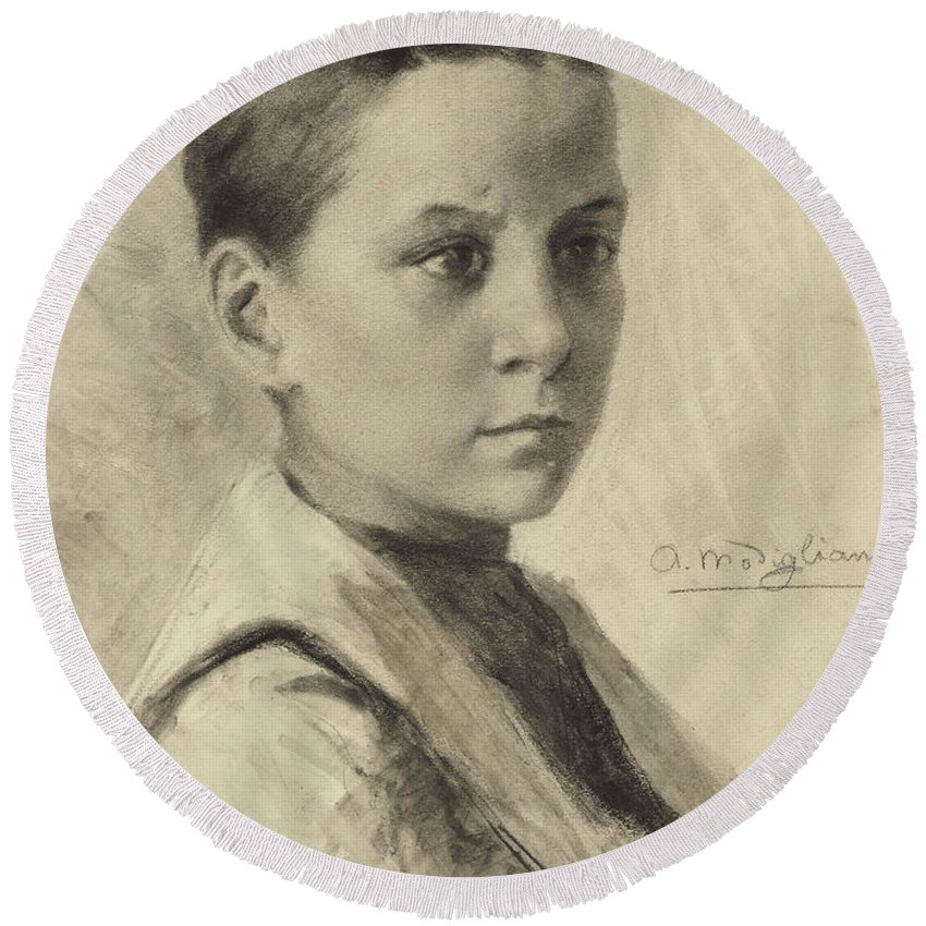 Charcoal On Paper Round Beach Towel featuring the drawing Self-portrait, 1899 by Amedeo Modigliani