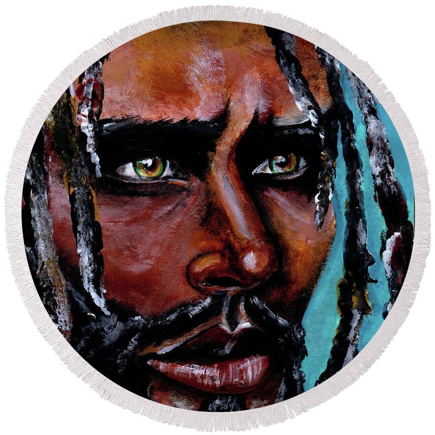 Eyes Round Beach Towel featuring the painting Selfless Life by Artist RiA