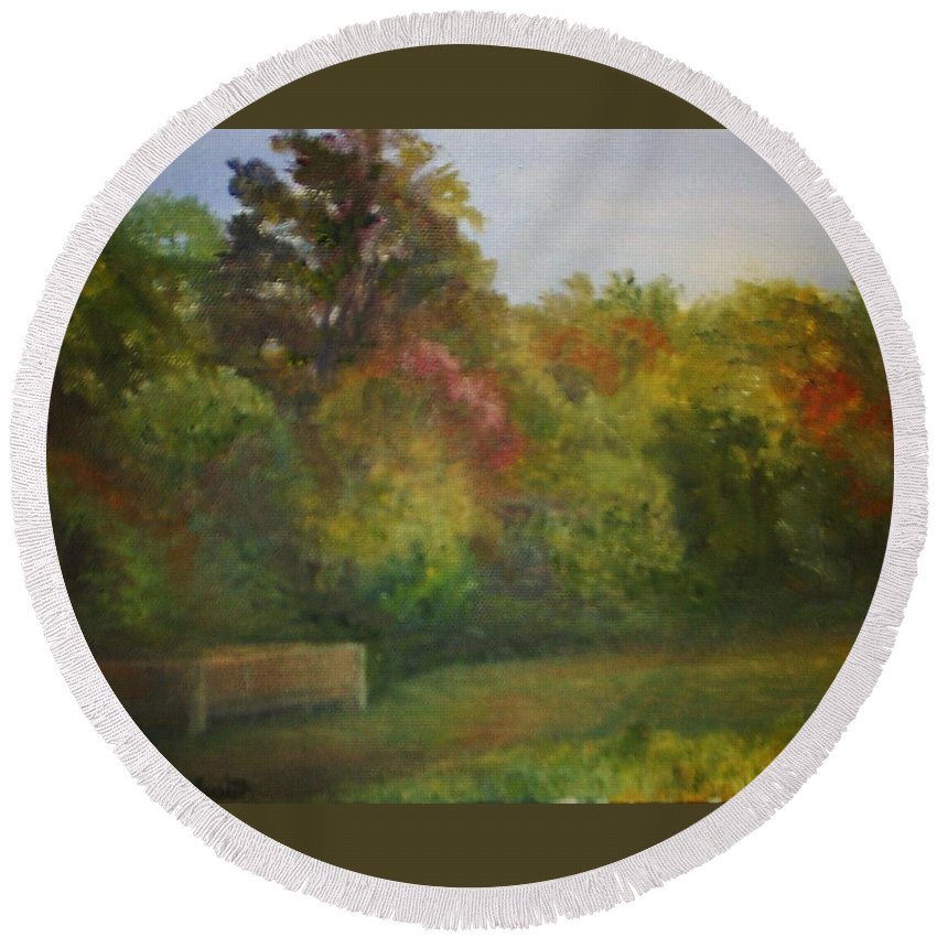 September Round Beach Towel featuring the painting September in Smithville Park by Sheila Mashaw