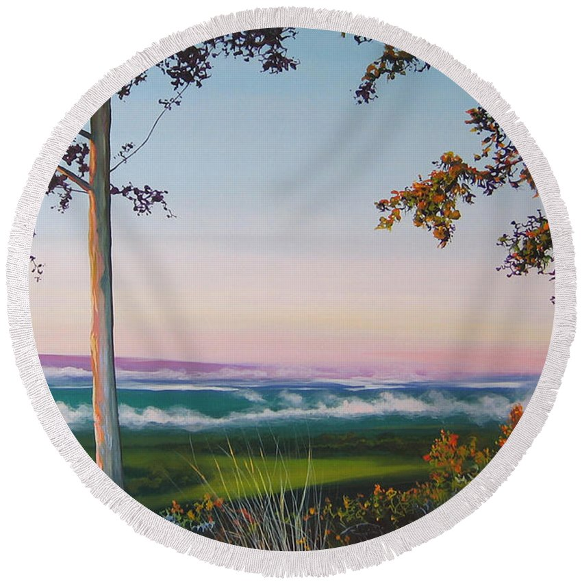 Landscape Round Beach Towel featuring the painting September Sky by Hunter Jay