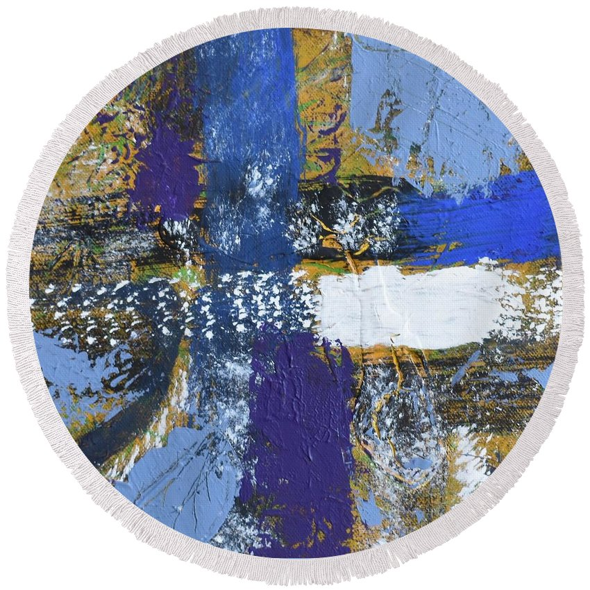Blue Round Beach Towel featuring the painting Series 1 Right Side by Pam Roth O'Mara