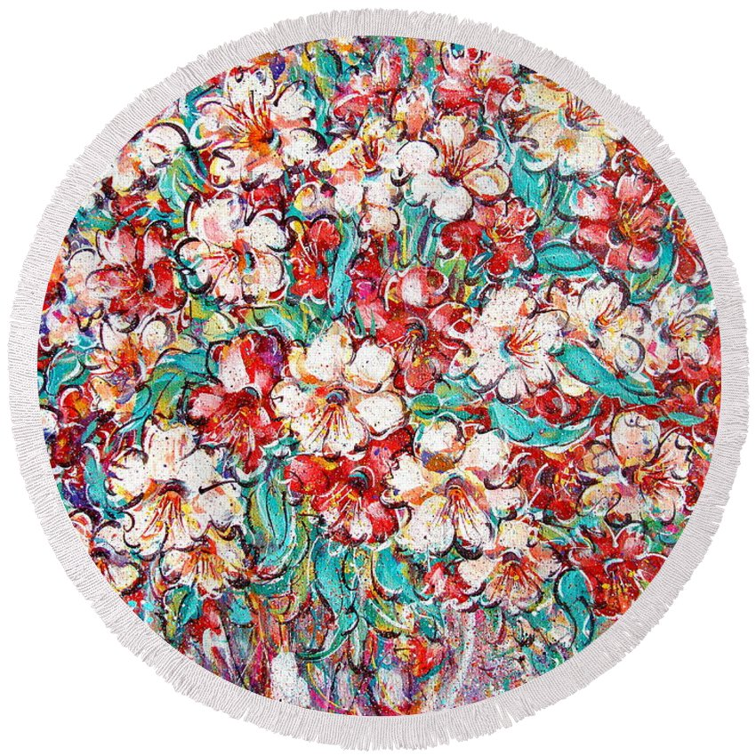 Flowers Round Beach Towel featuring the painting Shakespeare Scents by Natalie Holland
