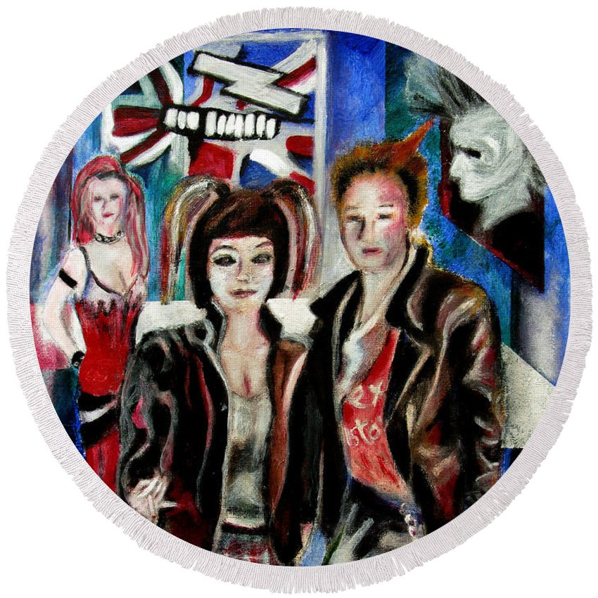 People Round Beach Towel featuring the painting Sheena is a punk rocker by Tom Conway
