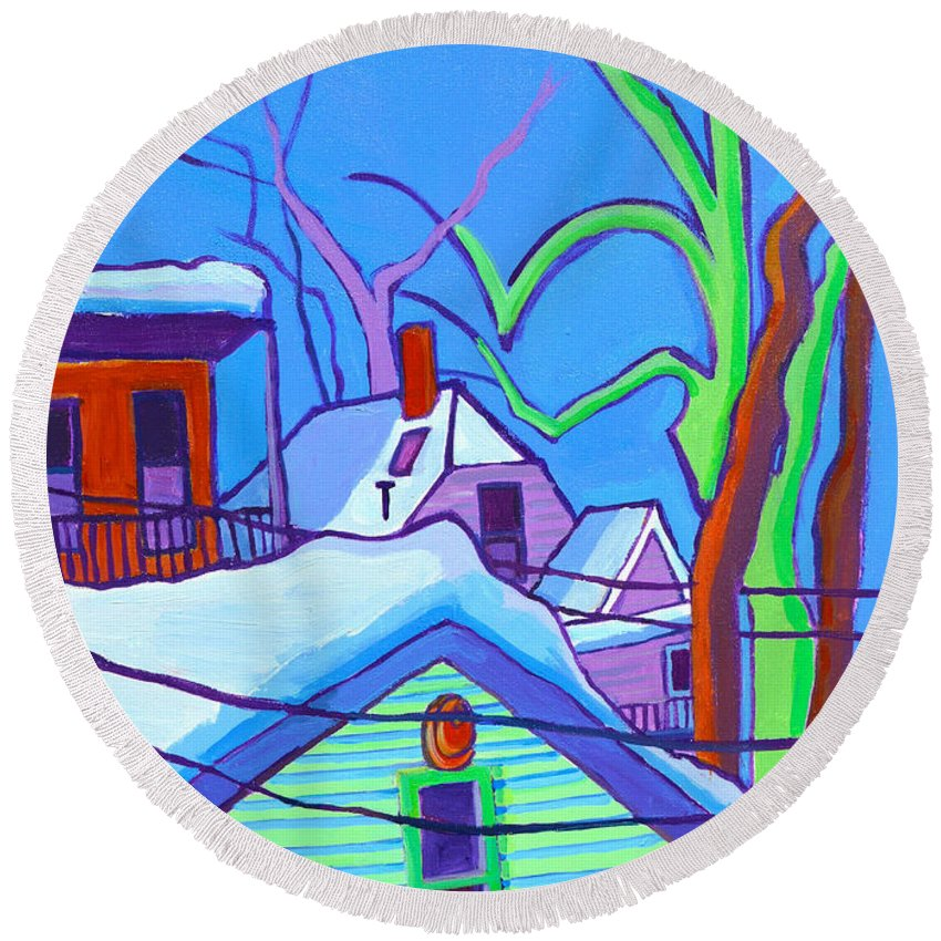 Buildings Round Beach Towel featuring the painting Sheffield Winter by Debra Bretton Robinson