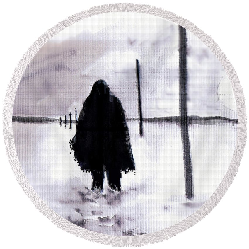 Siberia Round Beach Towel featuring the drawing Siberian Stroll-Dr. Zhivago by Seth Weaver