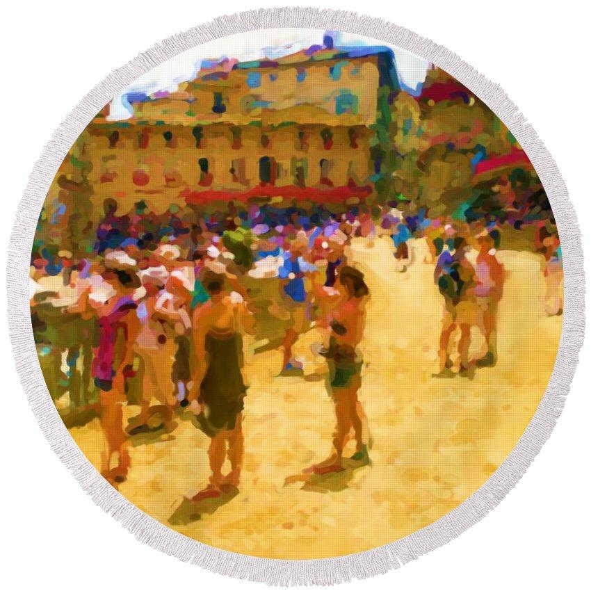Sienna Round Beach Towel featuring the mixed media Sienna by Asbjorn Lonvig