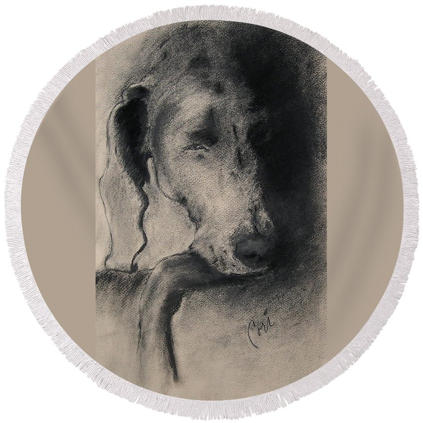Weimaraner Round Beach Towel featuring the drawing Silhouette by Cori Solomon