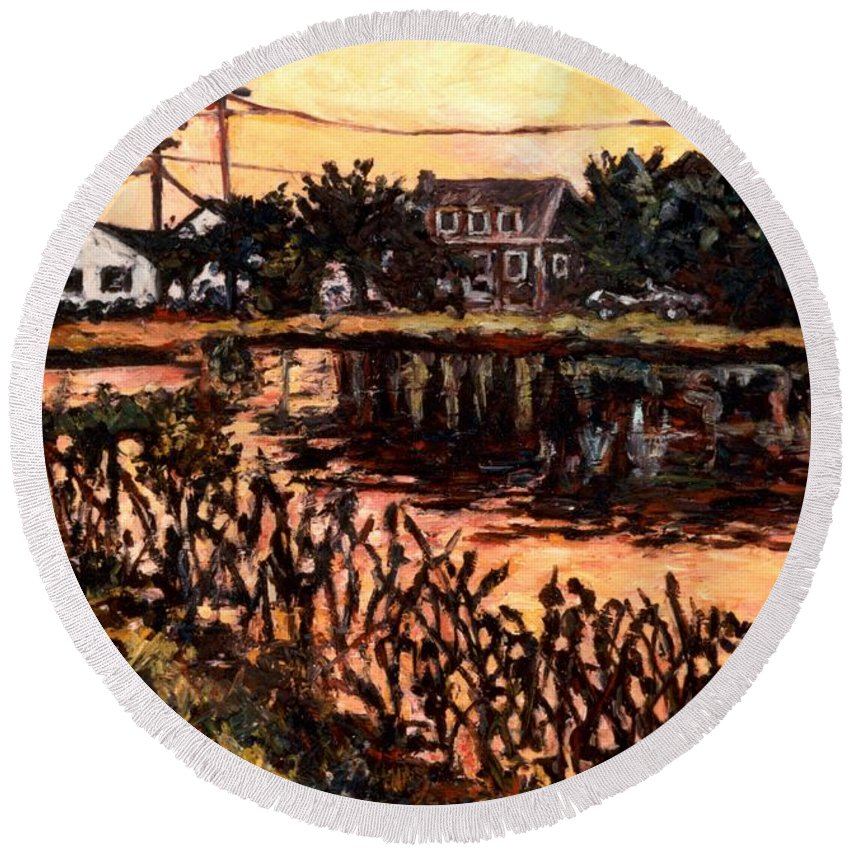 Landscape Round Beach Towel featuring the painting Silver Lake at Rehoboth Beach by Kendall Kessler
