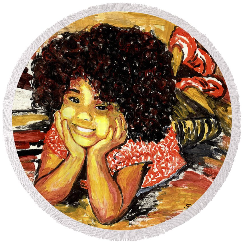 Everett Spruill Round Beach Towel featuring the painting Simone by Everett Spruill