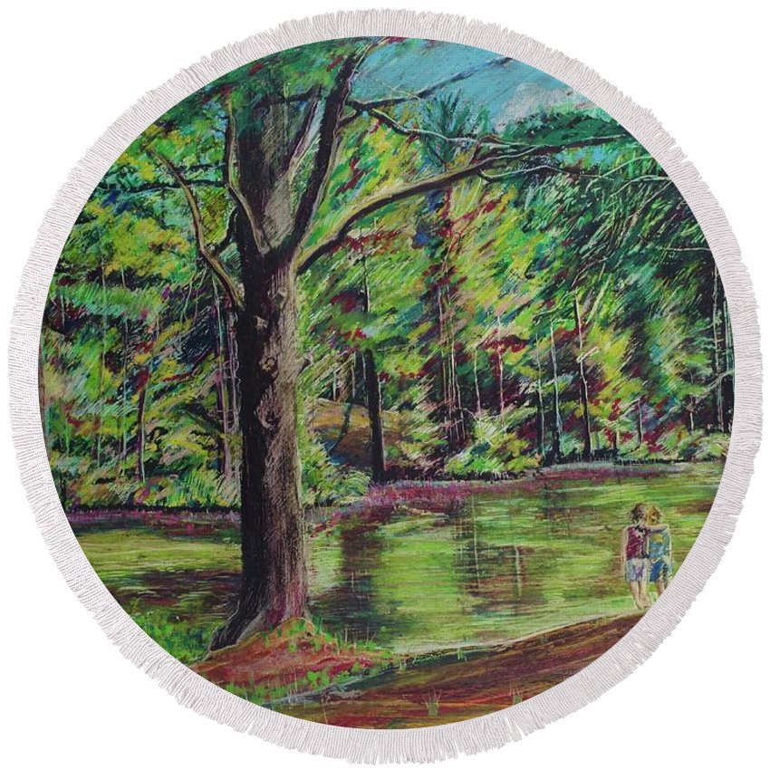 Family Round Beach Towel featuring the pastel Sisters At Wason Pond by Sean Connolly