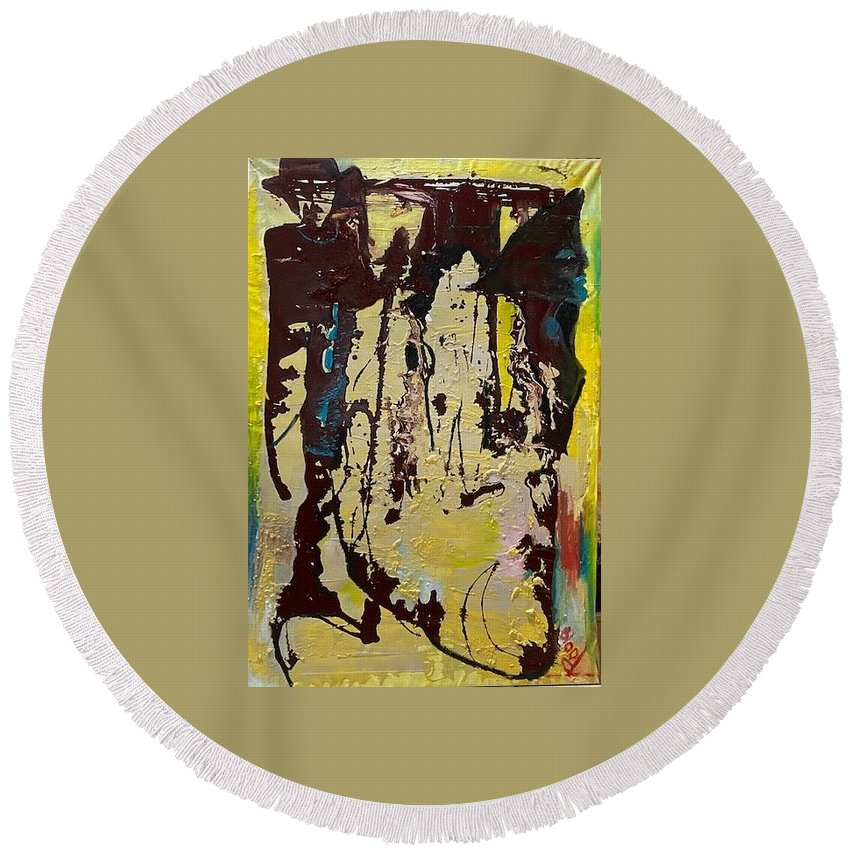 Women Round Beach Towel featuring the painting Sisters by Peggy Blood