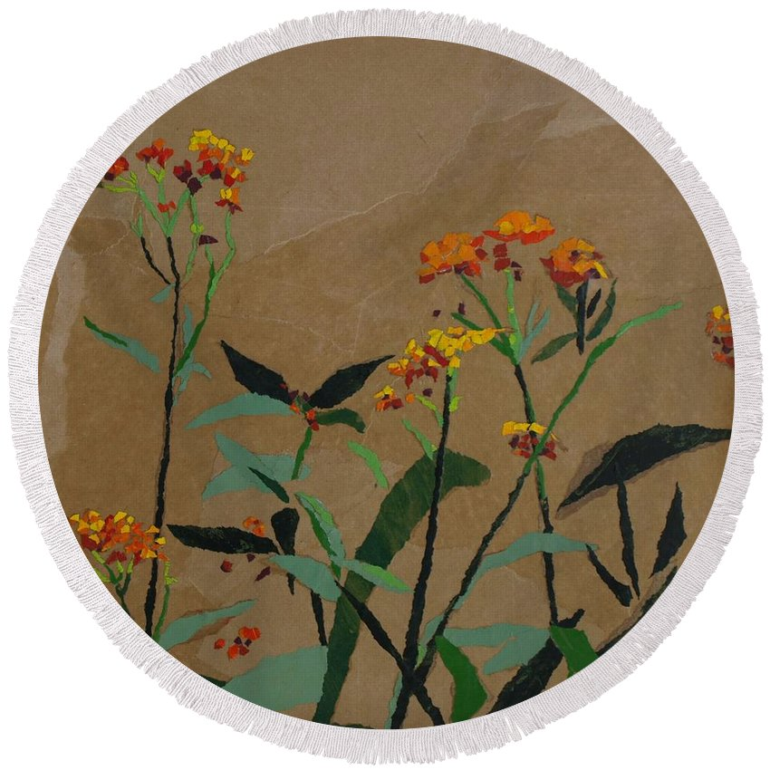 Floral Recycled Collage Round Beach Towel featuring the painting Smith Garden by Leah Tomaino