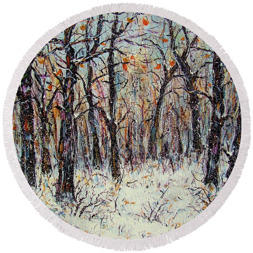 Landscape Round Beach Towel featuring the painting Snowing In The Forest by Natalie Holland