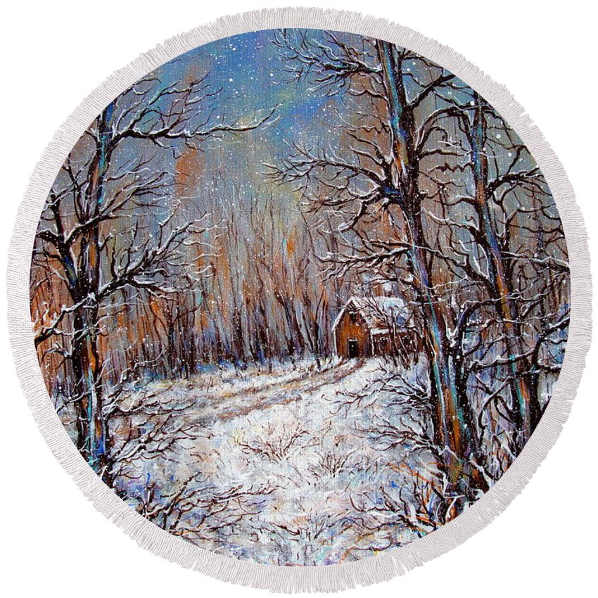 Landscape Round Beach Towel featuring the painting Snowing in the Woods by Natalie Holland