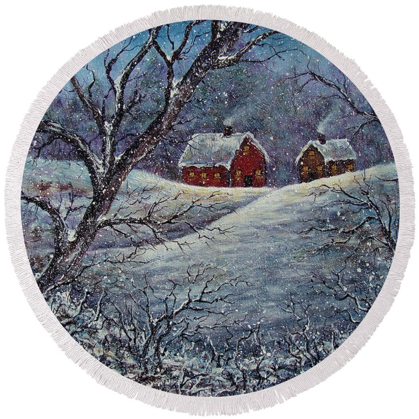 Landscape Round Beach Towel featuring the painting Snowy Day by Natalie Holland