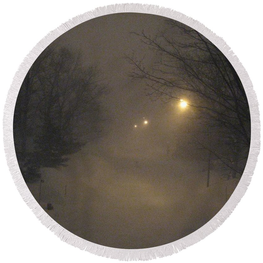Snow Round Beach Towel featuring the photograph Snowy Night by Mary Ellen Mueller Legault