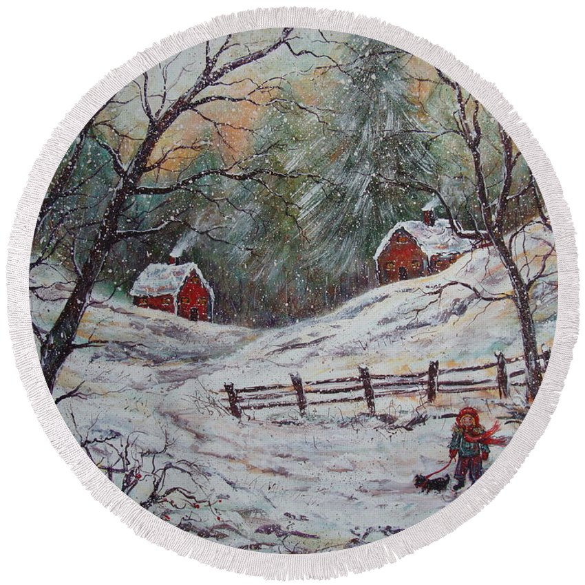 Landscape Round Beach Towel featuring the painting Snowy Walk. by Natalie Holland