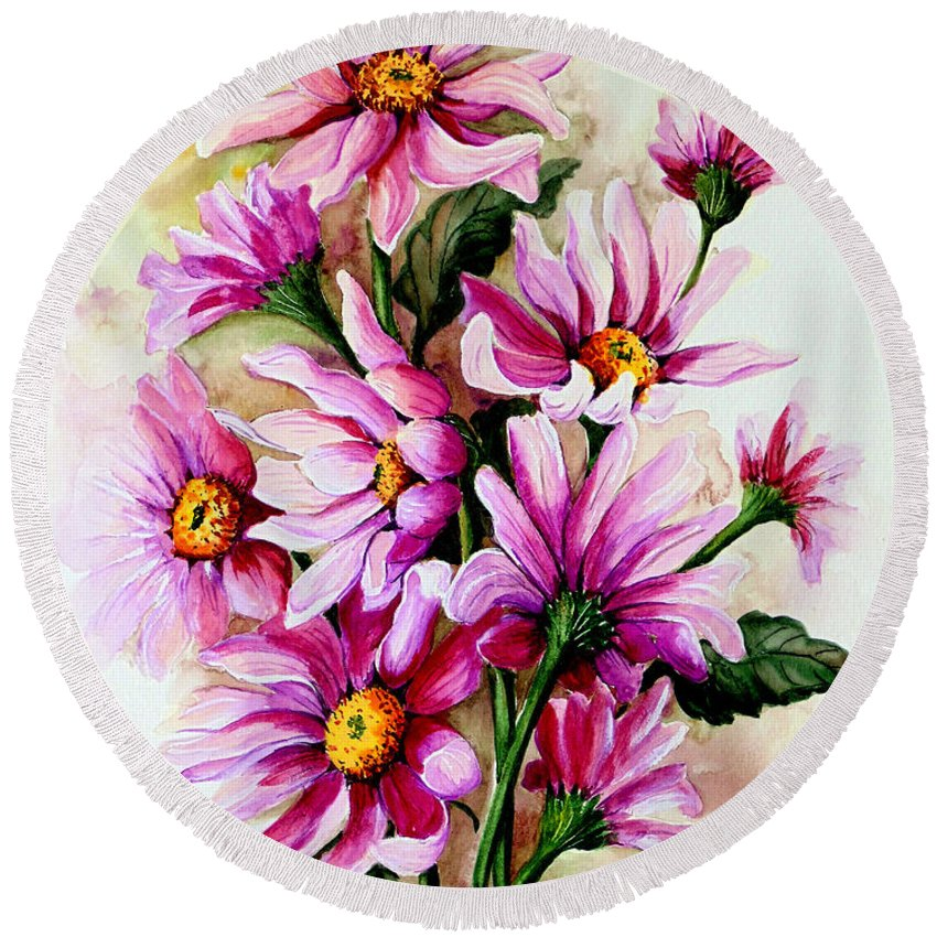 Pink Daisy Floral Painting Flower Painting Botanical Painting Bloom Painting Greeting Card Painting Round Beach Towel featuring the painting So Pink by Karin Dawn Kelshall- Best