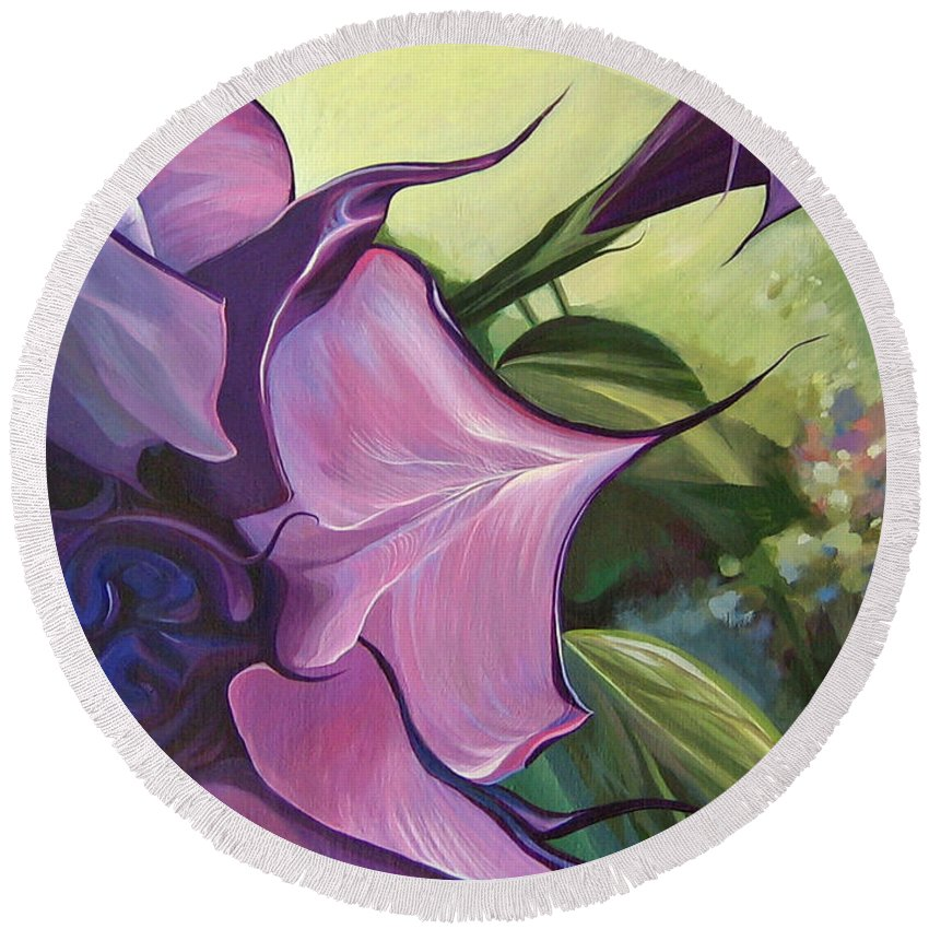 Jimson Weed Round Beach Towel featuring the painting Sometimes In Summer by Hunter Jay