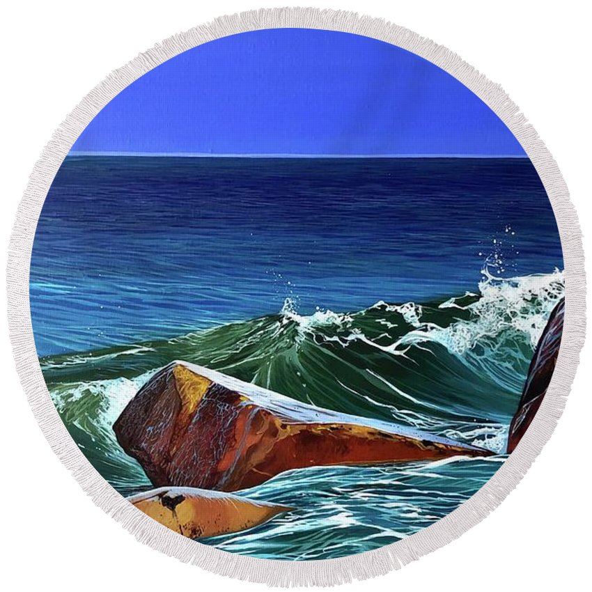 Ocean Round Beach Towel featuring the painting Song of the Sea by Hunter Jay