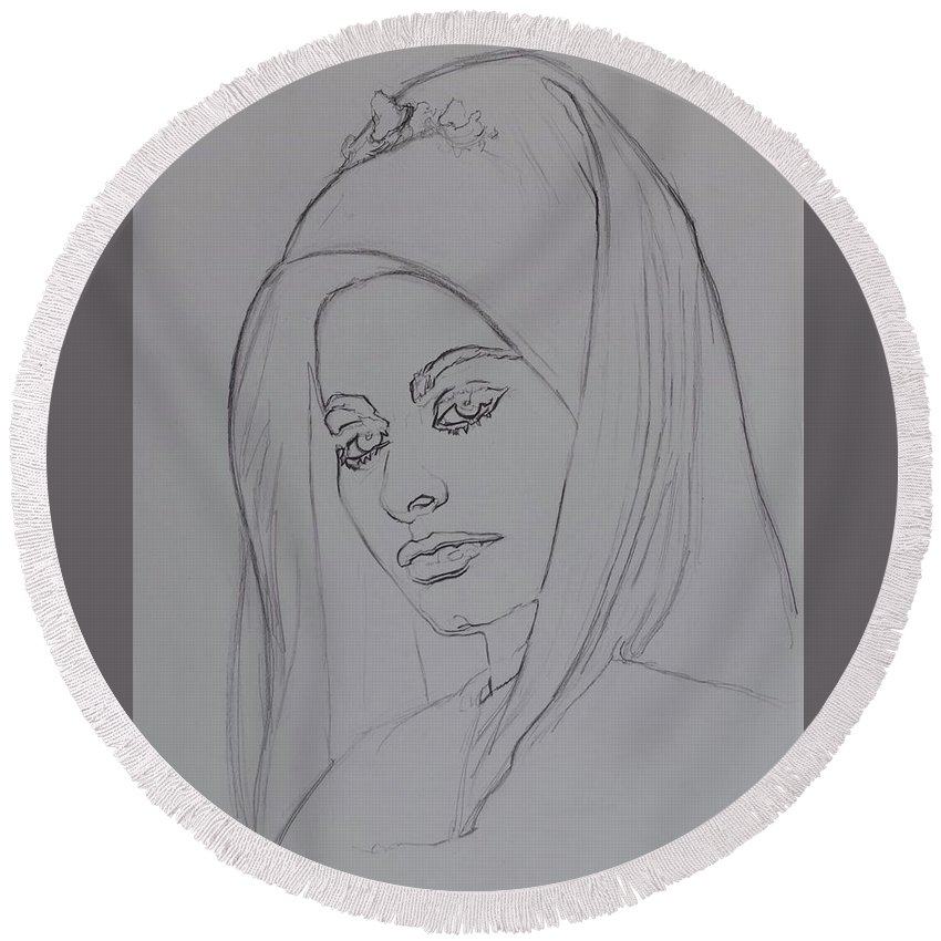 Woman Round Beach Towel featuring the drawing Sophia Loren In Headdress by Sean Connolly