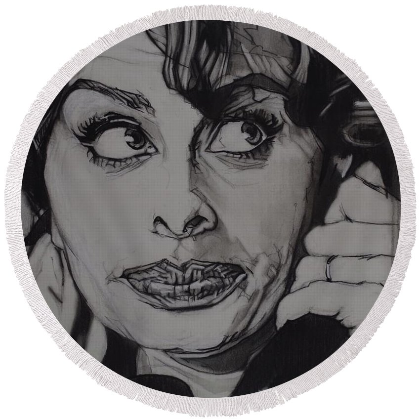 Charcoal On Paper Round Beach Towel featuring the drawing Sophia Loren Telephones by Sean Connolly
