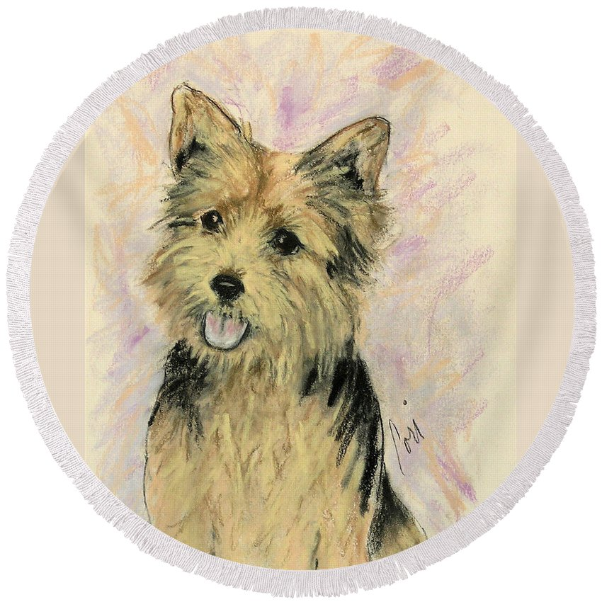 Dog Round Beach Towel featuring the drawing Soulmate by Cori Solomon