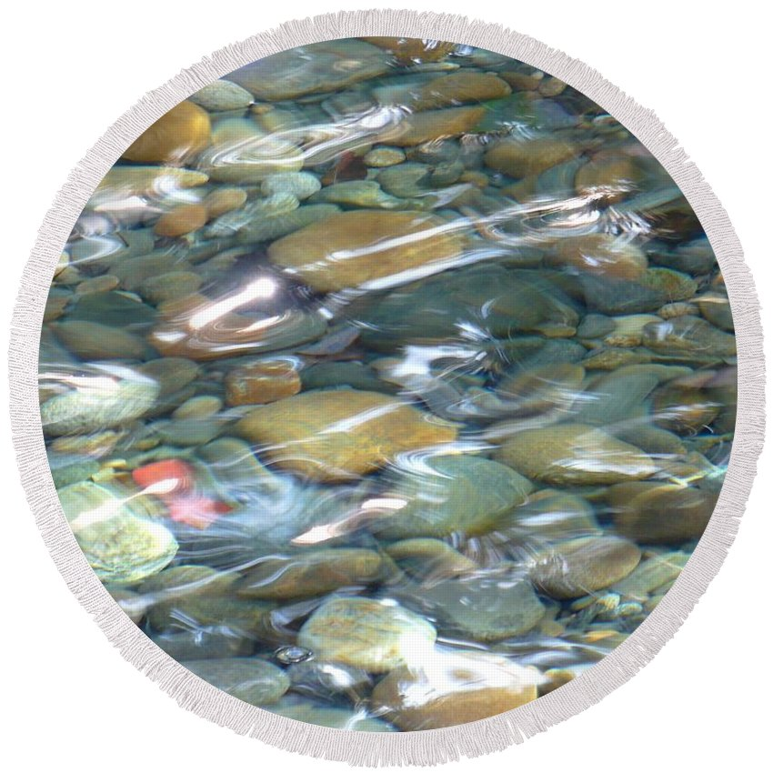 Water Round Beach Towel featuring the photograph Sparkling Water on Rocky Creek by Carol Groenen
