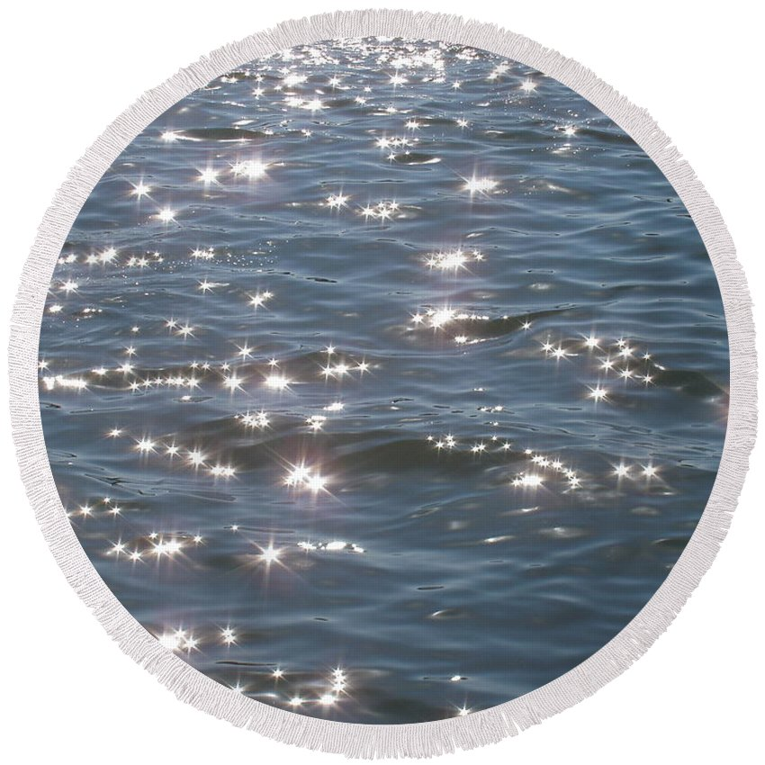 Sparkle Round Beach Towel featuring the photograph Sparkling Waters by Deborah Crew-Johnson